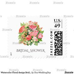 Watercolor Floral design Bridal Shower Stamps Rustic Watercolor Floral Painting Bridal Shower Postage Stamps. Matching Wedding Invitations, Bridal Shower Invitations, Save the Date Cards, Wedding Postage Stamps, Bridesmaid To Be Request Cards, Thank You Cards and other Wedding Stationery and Wedding Gift Products available in the Rustic Design Category of our Store.