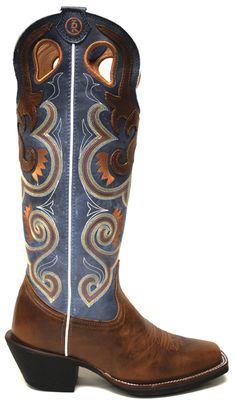 Tony Lama Women's Boots -- Copper Sunburst with Sky Baja Top | southtexastack.com
