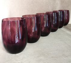 Amethyst Wine Glass Large Roly Poly Hand Blown by DotnBettys