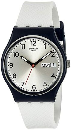 Swatch Men s Analog Display Quartz White Watch Silver dial with luminous  hands and Arabic numeral hour markers. Scratch resistant mineral crystal  Quartz ... 315e95ea5b