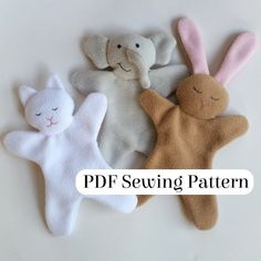Sweet & Simple Loveys Pattern – PDF sewing pattern – DIY baby gift – Comfort Blanket Animal – Kitten, Elephant, and Bunny Blankie – Sewing Projects Baby Sewing Projects, Sewing Projects For Beginners, Sewing For Kids, Sewing Crafts, Beginner Sewing Patterns, Sewing Tips, Sewing Ideas, Blog Bebe, Easy Baby Blanket