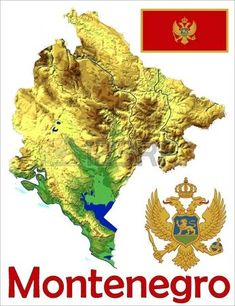 Montenegro. Escudo, bandera y mapa.