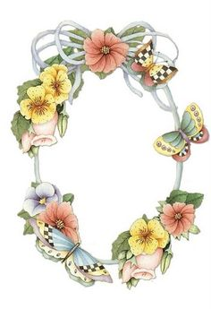 Oval flower and butterfly frame