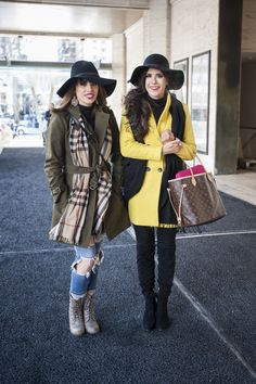 Hats were also big for street style this year! We love how these two styled the same style hat so differently!
