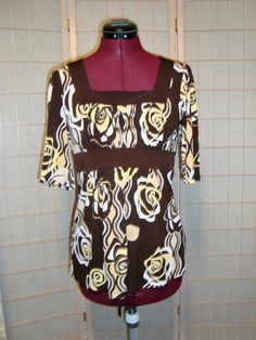 Speechless Sz S Women's Brown & Yellow Floral Liquid Knit Tunic Top W/ Ties #Speechless #Tunic