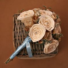 Natural Sola Wood Flowers, Vintage Paper Flowers, and Dried Flowers Wedding Bouquet