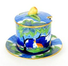 Carlton Ware - Handcraft - Tree & Cottage - A preserve pot, cover and stand decorated with a cott