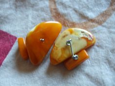 5.6 gr Natural Baltic Amber Orange yellov white cufflinks Vintage Retro Jewelry #handmade
