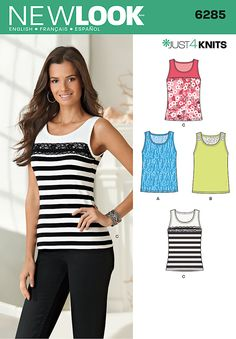 a5e0ed7f0abe3 New Look 6285 Misses  Knit Tank Tops