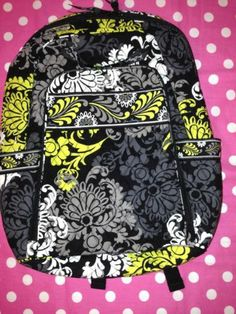 New Vera Bradley Baroque Black Laptop Backpack School Book Duffle Tote Bag | eBay