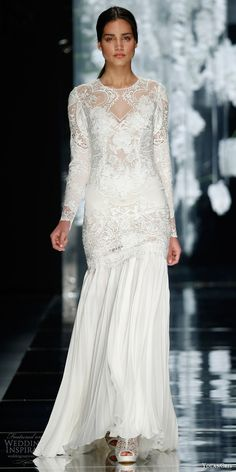 YEAH, I KNOW THIS WOULD NOT NORMALLY BE PINNED HERE !!!  I JUST COULDN'T RESIST,  AGAIN  !!!     /   yolancris bridal 2016 montbau long sleeve lace wedding dress chiffon skirt