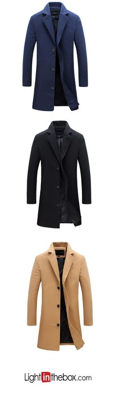 b35b8333543   19.24  Men s Party   Daily Simple   Casual Fall   Winter Plus Size Long  Coat