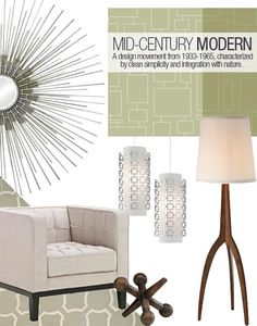 Clean simplicity, minimal styling, and integration with nature are the hallmarks of classic Mid-Century Modern design. Experiencing a revival with the televison show Mad Men, this look has a timeless feel despite originating more than sixty years ago. Look for natural, mid-toned woods (like teak); repeating geometric motifs; and organic forms that emulate elements found in nature.