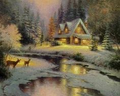 Deer Creek Cottage by Thomas Kinkade