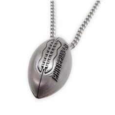 "New 3-D Football Antique Finish Necklace-Phil 4:13-""""PAT""""NO.D749,458"