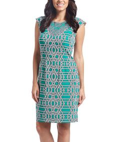 Loving this Green Geometric Cap-Sleeve Dress on #zulily! #zulilyfinds