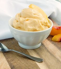 "Peaches and Cream ""Ice Cream."" No ice cream maker needed! The perfect summer treat! Only 5 ingredients. Dairy free, gluten free and vegan friendly."