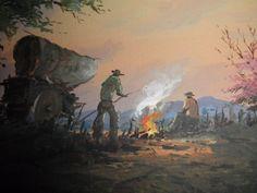 2 REINALDO MANZKE LISTED VINTAGE 1940'S WESTERN COWBOY CAMPFIRE PAINTINGS PAIR #Impressionism