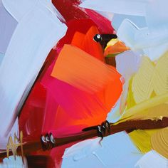 Cardinal no. 112 original bird oil painting by Angela Moulton