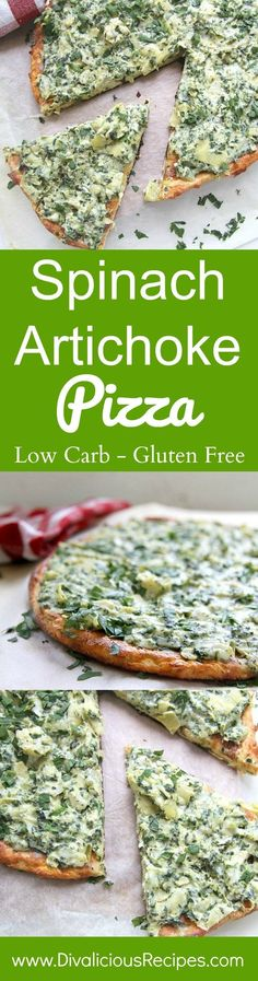 Spinach artichoke pizza is a delicious combination of a spinach artichoke dip with a low carb and gluten free pizza base.