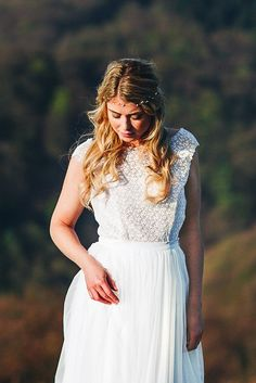 noni | Boho Braut Überrock lang mit Spitze