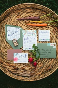 Watercolor farm to table wedding invitation suite with vegetables, a barn, and a pig with hand lettering