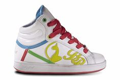 """Hot Trend: Colorful Sneakers: Baby Phat """"Super Cat Flash Hi"""" in White/Multi, $64.99"""