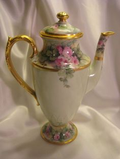 Antique Limoges France Chocoliatiere  HAND PAINTED Roses CHOCOLATE COCOA POT  #Limoges