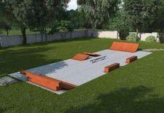 skate ramp in backyard * skate ramp backyard Backyard Skatepark, Backyard Playground, Backyard Landscaping, Playground Ideas, Skate Ramp, Mini Skate, Skateboard Ramps, Bmx Ramps, Hockey Bedroom