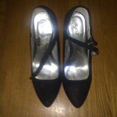 Suede Pumps Black Suede Pumps 4-4 1/2 inches Qupid Shoes Heels