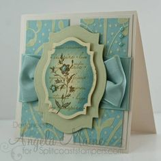"Stamps: Three stamps used from SU ""Charming"" cling set   Paper: Bazzill walnut cream, Paper source sage, K & Company dp   Ink: Distress inks walnut stain, brushed corduroy, antique linen, tumbled glass faded jeans   Accessories: Spellbinders labels eighteen, Martha Stewart ""moire"" ribbon, memory box pearls,   Techniques: sponging"