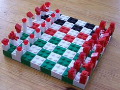 my son would love to make this and play it! Lego chess board