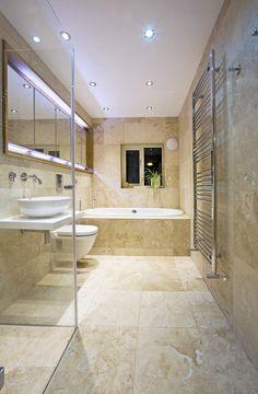 Travertine bathroom backsplash mosaic glass tile back splash vanity Beige Tile Bathroom, Fully Tiled Bathroom, Travertine Bathroom, Bathroom Floor Tiles, Travertine Floors, Downstairs Bathroom, Natural Bathroom, Bathroom Sinks, Kitchen Tiles