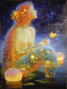 Artist~The last leaf Mermaid by Victor Nizovtsev Mermaid Fairy, Mermaid Tale, Victor Nizovtsev, Mermaids And Mermen, Merfolk, Art Moderne, Magical Creatures, Art Plastique, Faeries