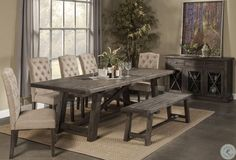 Newberry Grey Extendable Dining Room Set from Alpine | Coleman Furniture Alpine Furniture, Dining Furniture, Dining Chairs, Muji Furniture, Furniture Decor, Furniture Movers, Room Chairs, Furniture Design, Table Design