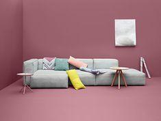 Canapé d'angle Soft Mags / L 302 cm - Accoudoir gauche Gris clair / Tissu Divina - Hay