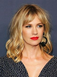 Everyone In Hollywood Is Getting This Low-Maintenance Cut Curtain Bangs Celebrity Hairstyle Trend – Kirsten Dunst Wavy Hair, Her Hair, Blonde Hair Fringe, Warm Blonde Hair, Fine Hair, Fringe Bangs, Short Hair Long Fringe, Blonde Hair Red Lips, Long Bob With Bangs