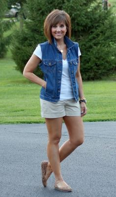 A denim vest would be cute & so much cooler than a jacket during summer Shorts F., Summer Outfits, A denim vest would be cute & so much cooler than a jacket during summer Shorts For Women Over 40 Shorts Outfits Women, Short Outfits, Denim Outfits, Casual Summer Outfits For Women, Spring Outfits, Outfit Summer, Summer Vest, Summer Clothes For Women, Summer Hair