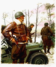 A painting for the US Army 'Stars and Stripes' newspaper shows US Army General George S. Patton during the Battle of the Bulge near the besieged town of Bastogne in the Ardennes region of Belgium in December 1944. (Illustration by Ed Vebell/Getty Images)
