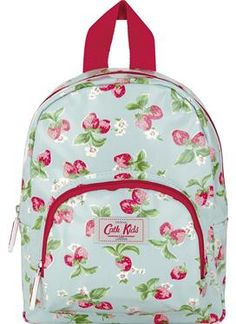 A perfect little bag for little people! Ideal for school or nursery, this Mini Strawberry print mini rucksack is easy to carry and has enough room for packed lunch, with some extra space for pens and pencils. Fully lined, with pink trims. Please note that this bag is very small and is best suited to children under five. Our larger rucksacks are best for older children.