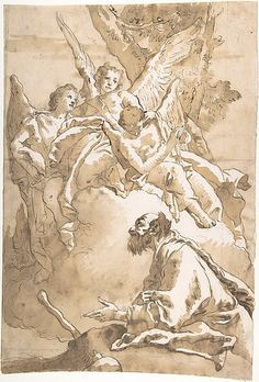 The Three Angels Appearing to Abraham by the Oaks of Mamre - Giovanni Domenico Tiepolo  (1727–1804)