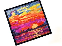 Sunset Art Quilt, Evening Seascape, Silk Wall Hanging, Lake Michigan Sunset, Original Fiber Art 9 X 9 inches, Fine Art Wall Hanging, Fiber Longarm Quilting, Machine Quilting, Fiber Art Quilts, Quilt Batting, Sunset Art, Quilted Wall Hangings, Cycling Art, Artist Trading Cards, Mug Rugs