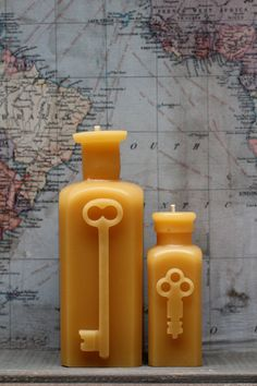 """Beeswax Candle Set - antique bottle shaped - """"TWO KEYS"""" - by Pollen Arts Candle Set, Candle Holders, Shabby, Light Crafts, Vintage Room, Antique Bottles, Beeswax Candles, Bees Knees, Bottle Design"""