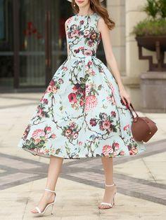 9b9f3ee96ca Shop Midi Dresses - Multicolor Sleeveless Floral Bateau boat Neck Polyester  Midi Dress online.
