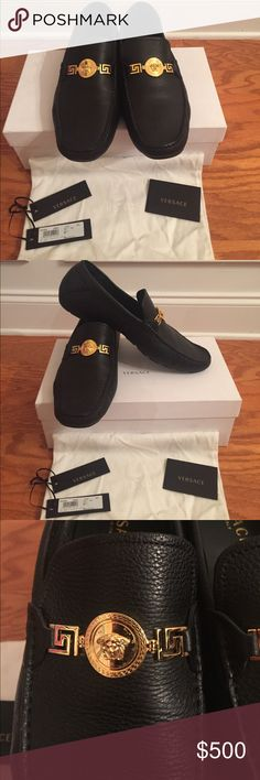 Versace men's shoe size 45 European 11 US Authentic Versace Black leather mens shoe with Versace emblem on top in gold. Worn only once. Original receipt with papers, shoe bag and box included. Versace Shoes Loafers & Slip-Ons