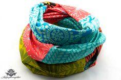 Buntes Tuch / Patchwork-Loop-Schal in Lieblingsfarbe grün türkis von #Lieblingsmanufaktur
