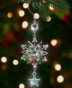 Amazon.com - Silver Snowflake Ornament - Silver Metal and Clear Crystal Filigree Ornament - Silver Christmas Decoration - Stocking Stuffer - Christmas Pendant Ornaments