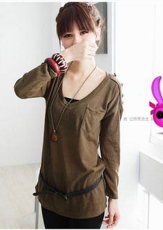 Loose Scoop Neck Long Sleeve Button Detail Pocket Women's T-shirt on BuyTrends.com, only price $9.50