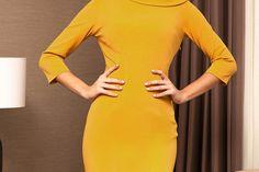 Rochie PrettyGirl mustarie office eleganta tip creion slit la spate cu maneci trei-sferturi High Neck Dress, Bodycon Dress, Dresses, Fashion, Turtleneck Dress, Gowns, Moda, Body Con, Fashion Styles