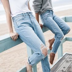 Light-wash Denim; High-waisted Straight Jeans
